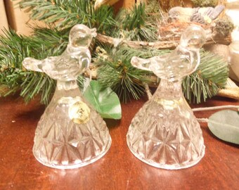 Set of 2 Pressed Glass Lead Crystal Bell Birds   (T)