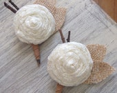 Rustic Country Burlap & Lace Wedding Boutonnieres -Custom-