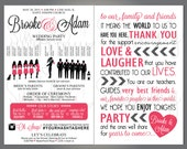"""Silhouette Wedding Party Program, Wedding Party- Veritcal Layout, Silhouette Front and Back Customizable, 5.5""""x8.5"""""""