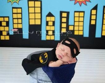 Newborn Batman Costume Baby Photo Prop Mask and Cape