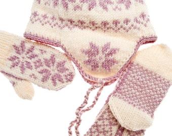 Set of Norwegian Selbu Hat + Mittens + Socks