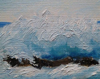 """Greeting Card. Original abstract seascape oil miniture painting """"The Roar of the Waves"""", 2.5"""" x 3.5"""" on canvas paper, Free Shipping."""