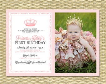 Princess First Birthday Invitation 2 - Royal Baby Girl Shower - Printable, Her Royal Majesty - ANY COLOR SCHEME - Any Event - Photo