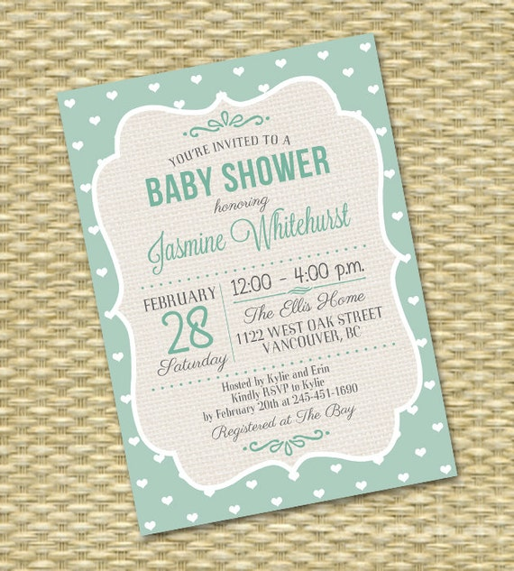 baby shower invitation any color rustic burlap typography diaper