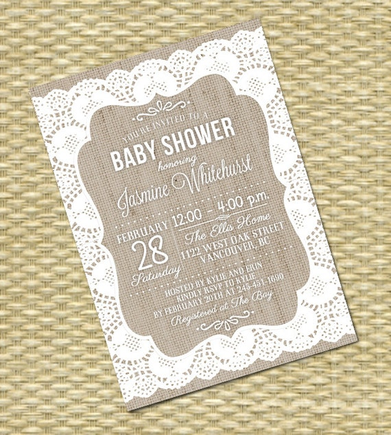 Lace Burlap Rustic Baby Shower Invitation Gender Neutral Baby