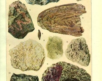 1948 Vintage rocks poster Vintage geology art Rocks decor Rocks gift Geology decor Geology gift for men Minerals poster Mineralogy wall art