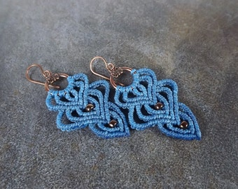 Macrame Earrings - Blue Dangle Earrings With Bronze Seed Beads