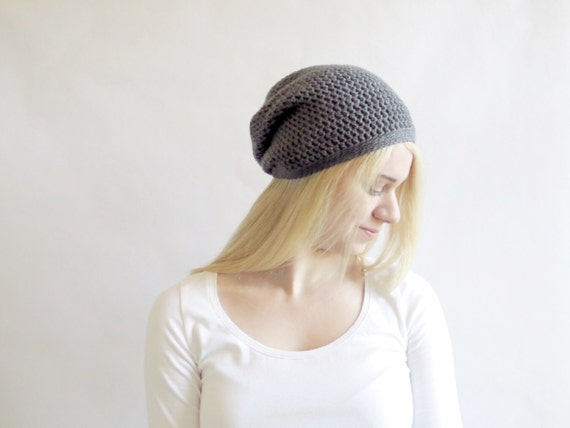 Gray Slouchy Hat. Crochet Beanie. Chunky Charcoal Hat. Dark Gray Beanie. Womens Winter Hat. Slouchy Beanie Hat. Gray Tam. Gray Knit Hat.