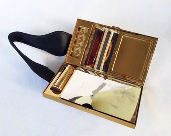 Vintage Compact Vanity Case, Mother-of-Pearl, Black Suede Hand bag, 1940s Unused - Evening Glamour