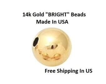 3 MM / 12 P. 14 K Gold Bright Round Seamless  Beads                2103