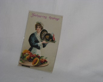 Vintage Used Thanksgiving Greetings Post Card