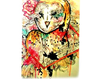 ACEO - Artist Trading Card - Owl Art - Watercolor ACEO - Atc - Mini art card - Watercolor animal - Mini art