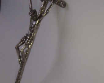 CRUCIFIX Pope John Paul II Silver Plated Blessed by Pope 1984 On His Canadian Visit Large Hand Held or Ring For Hanging