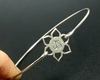 Lotus Flower Ohm Bangle Bracelet - 925 Sterling Silver - Om Namaste Jewelry NEW
