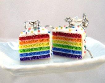 Rainbow Cake Earrings, Miniature Food Jewelry, Foodie Dangle Earrings