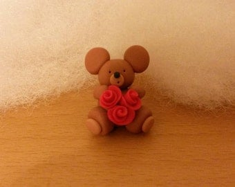 cute bear with red roses-  made from Polymer Clay (fimo)