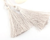 White Sand, Silk Thread Tassels, 2 pieces - Jewelry Supplies  // TAS-016