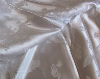 "Fabric Amazing Solid White Woven Silky Kimono Fabric Yardage - 46"" x 87"" Total - Unused Antique Dragon"