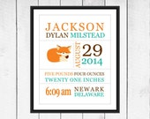Fox Nursery Decor - Birth Stats Wall Art - Fox Decor  -  Custom Sizes - Canvas Printing available
