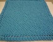 "Cotton Dish Cloth - Hand Knit - Bright Blue/Aqua - Mix-N-Match - Large 9"" Square"