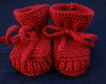 Stay-on Red Baby Booties - Size 0 to 3 Month