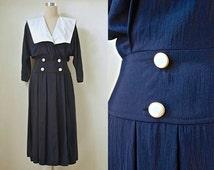 "Sailor Collar Dress - 80s Does 1940s - Nautical Style Vintage Dress - Navy Black Midi Dress - White Collar Dress - 34"" Bust"