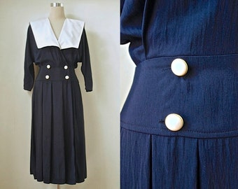 "Sailor Collar Dress - 80s Does 1940s - Nautical Style Vintage Dress - Navy Black Midi Dress - White Collar Dress - 34"" Bust"