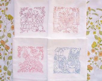 Flour Sack Embroidered Set of Delightful Garden Scenes