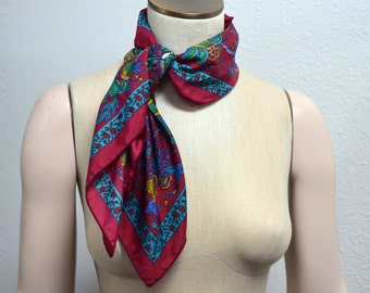 Red Scarf, Brightly Colored Scarf, Women's Square Scarf, Burgundy Floral Scarf, Flowered Scarf, Teal, Blue, and Yellow Scarf