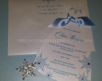 Frozen Inspired Dress Invitation, Winter Wonderland Invitation, Birthday Invitation, Sweet Sixteen Invitation, Quinceanera Invitation