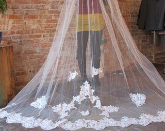 Cathedral Veil - Lace Veil - Long Veil - Bead Headpiece - Bridal Headpiece - 2 layers