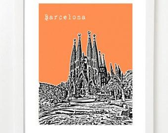 Barcelona Art Print - Barcelona Skyline Poster - Barcelona Spain - VERSION 2