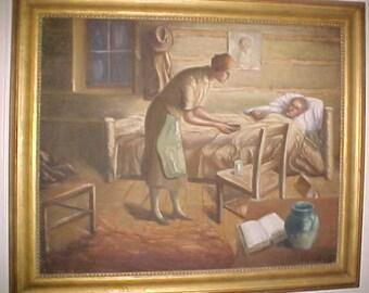 Vintage  American folk art oil painting on canvas