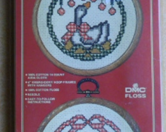 Christmas Craft Kit - Vogart Crafts 2930D - Christmas Doubles - 2 Christmas Goose Pictures- Embroidery Kit - Frame and Hanger - Made in USA