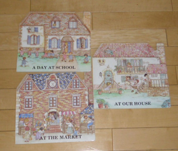 Vintage Childrens Books - 3 Peter Haddock Board Books, Printed in Italy 1970, A Day At School, At Our House, At The Market
