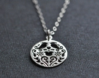 Birds Sterling Silver Necklace  - Birds and Flowers Silver Medallion Necklace
