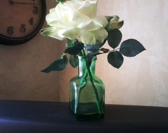 White Silk Rose in Green Glass Vase