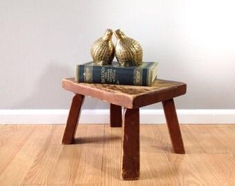 vintage distressed wood step stool. primitive farmhouse decor. retro footstool.