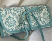 Knitting Needle Organizer Fixed  Circular Interchangeable Zip Pouch Lots of Pockets Aqua Damask