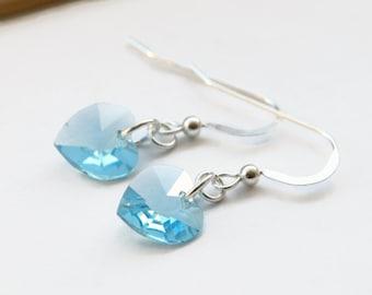 March Birthstone Earrings, Blue Swarovski Heart Earrings, Aquamarine Heart Earrings, Something Blue Earrings, Blue Bridal