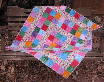 Baby Quilt - Baby Girl Quilt - Funfetti Batik - Table Topper