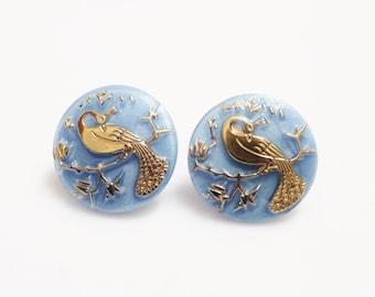 Blue Peacock Earrings Glass Earring Studs, Czech Glass Earrings