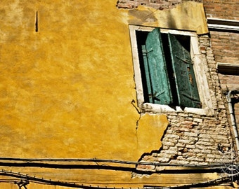 Shabby Window Shutters: Venice, Italy - Travel Photography [Brick / Old Door Architecture Cityscape / Yellow Green decor / Shabby Chic]