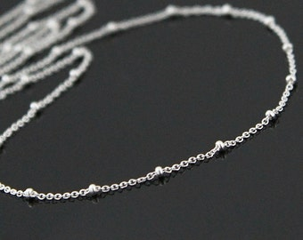 Sterling Silver Beaded Necklace, Dew Drops Necklace, Layering Necklace, Long Silver Necklace, Up to 40 Inches.