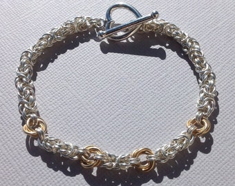 Silver and Gold Lover's Knot Chain Bracelet