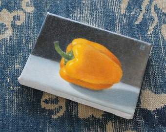 oil painting still life Yellow Bell Pepper, oil on canvas