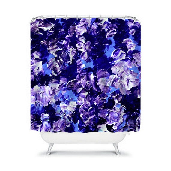 Floral fantasy 2 purple floral art shower curtain washable for Blue and purple bathroom ideas