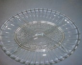 KIG Indonesia Clear Glass 4 part serving dish, EX condition 1970s piece
