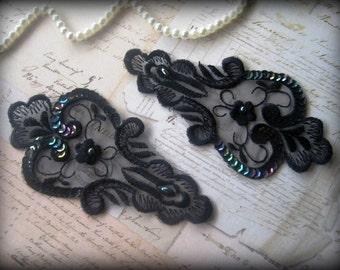 Vintage Paisley Lace Applique, Black, x 2, For Romantic, Victorian, Gothic Projects