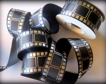 """Movie Film Ribbon, Black / Silver, 1 3/8"""" inch wide, 1 yard, For Mixed Media, Gifts, Scrapbook, Home Decor, Accessories"""